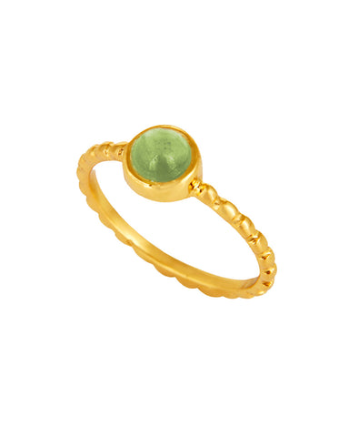 Peridot Pinky Ring in textured Gold Vermeil