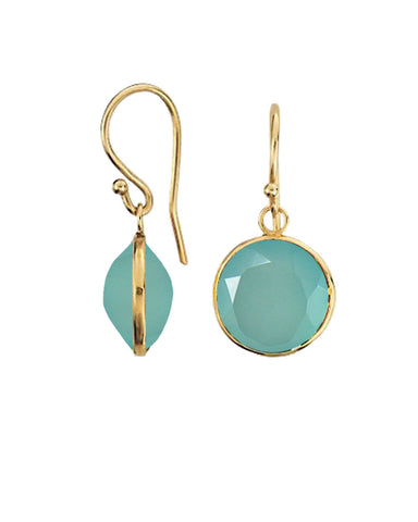 Peruvian Opal Round Gem Drop Earrings