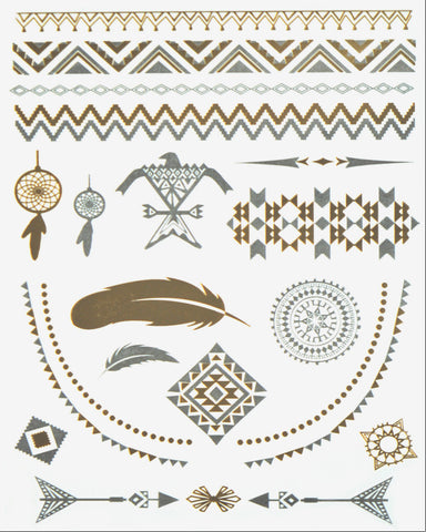 Phoenix Pack Metallic Flash Tattoo - Silver Trendz