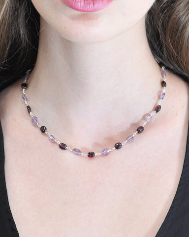 Prosperity Garnet and Amethyst Sterling Silver Necklace