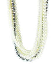 Radiant Crystals and Pearls Multi Layered Adjustable Necklace