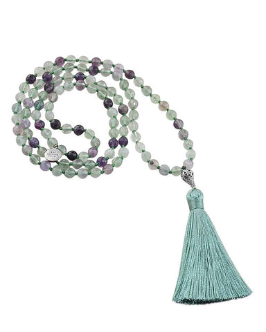 Rainbow Fluorite Mala Spirituality and Protection