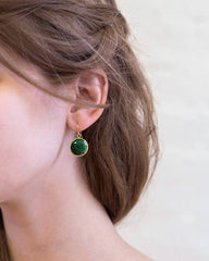 Raw Emerald Round Gem Drop Earrings