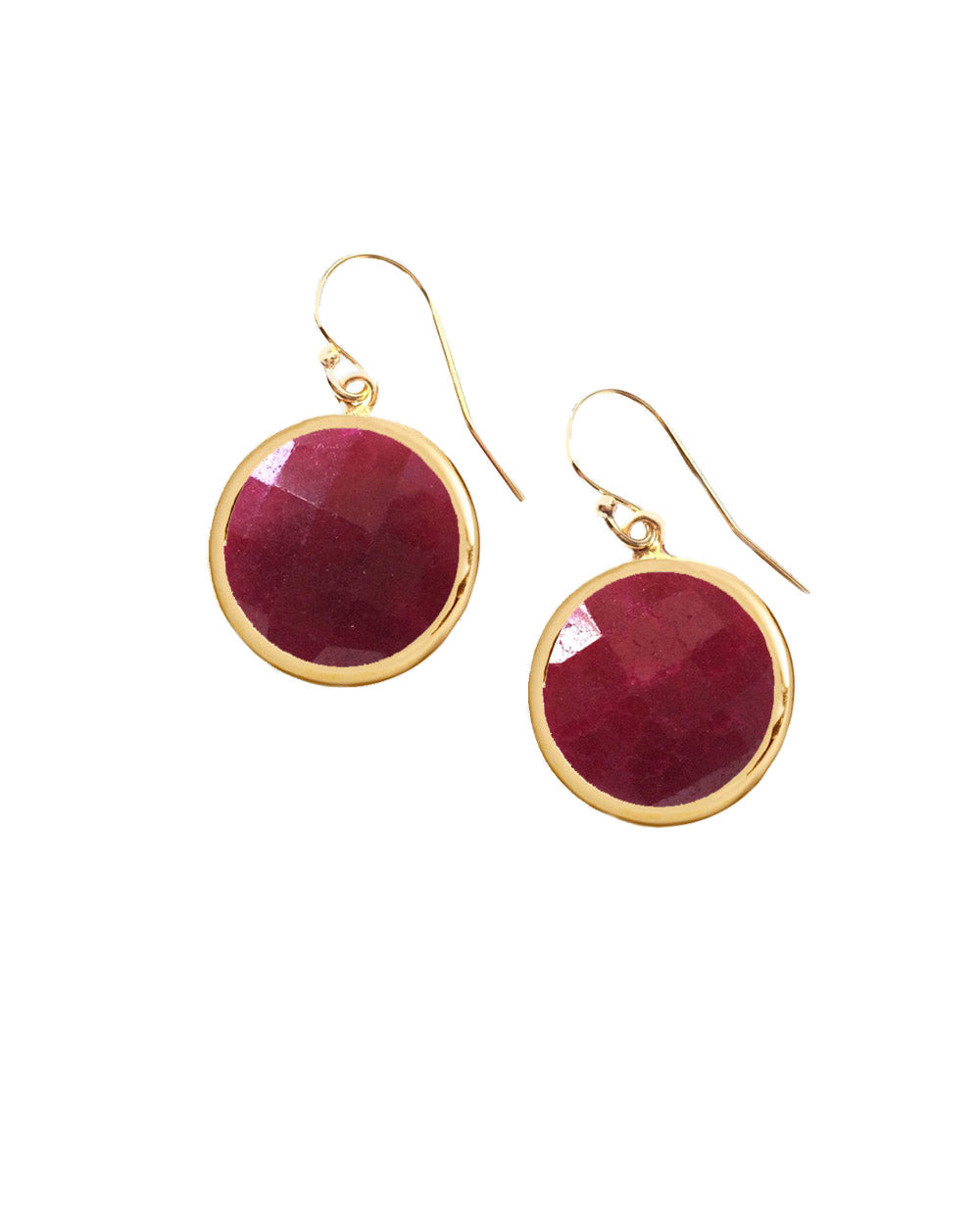 Raw Ruby Round Gem Drop Earrings