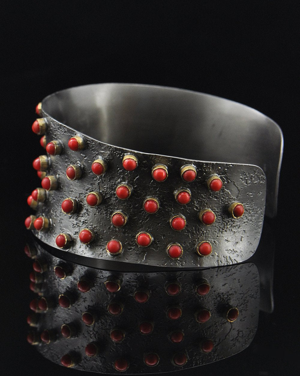 Red Coral Cuff Bracelet in Oxidized Sterling Silver