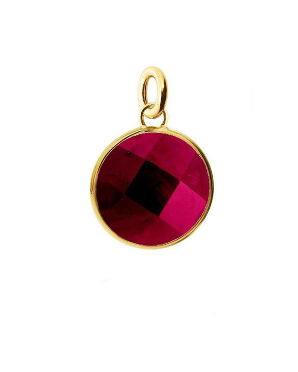 Red Ruby Round Disk Charm in Sterling Silver