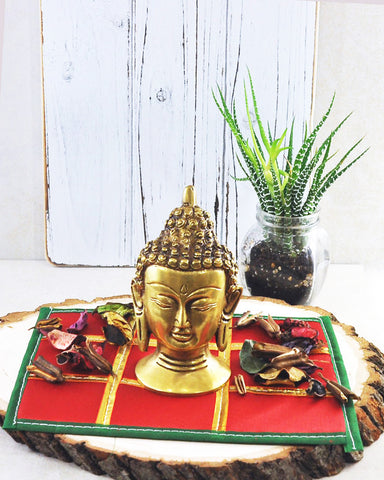 Red Silk Sacred Space Decorative Altar Cloth with Gold Trims