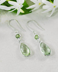 Renewed Self Prasiolite Green Amethyst Sterling Silver Earrings