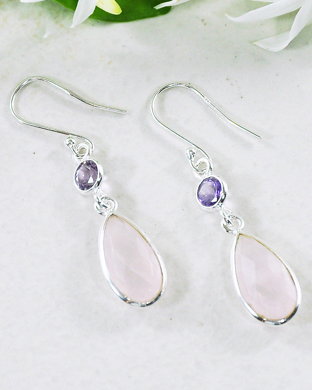 Renewed Self Rose Quartz Sterling Silver Earrings