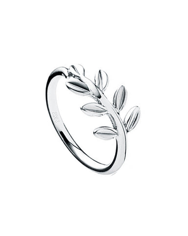 Rejuvenation Spring Leaf Pinky Ring in Sterling Silver