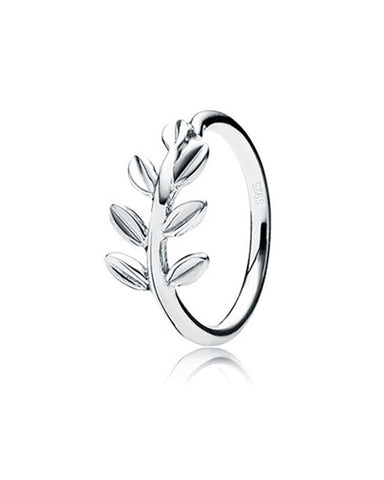 Rejuvenation Spring Leaf Band Ring in Sterling Silver