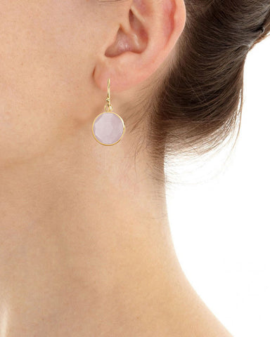 Rose Quartz Round Gem Drop Earrings