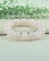 Rose Quartz Large Beads Beaded Bracelet - Silver Trendz  - 1