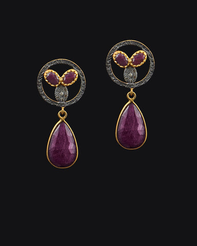 Ruby and Diamond Mid Century Drop Earrings