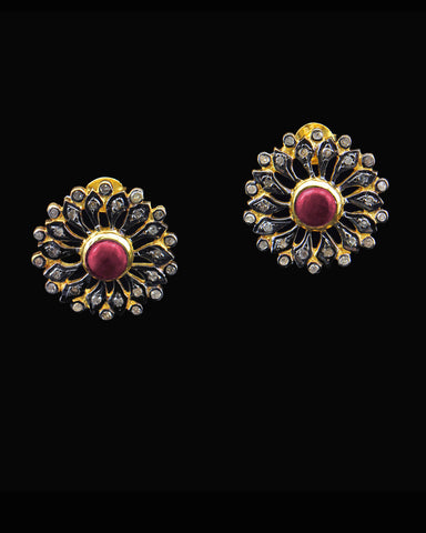 Ruby and Diamond Post Earrings in Gold Vermeil