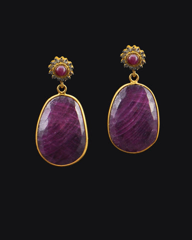 Ruby and Diamond Vintage Drop Earrings