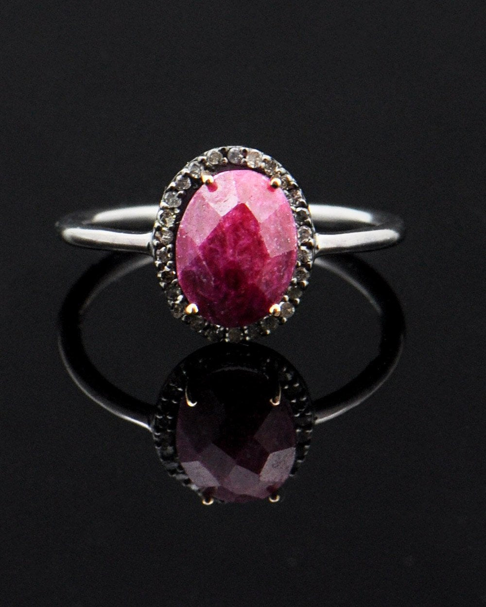 Ruby and Diamonds Vintage Engagement Ring