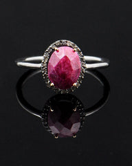 Natural Raw Ruby and Diamond Ring