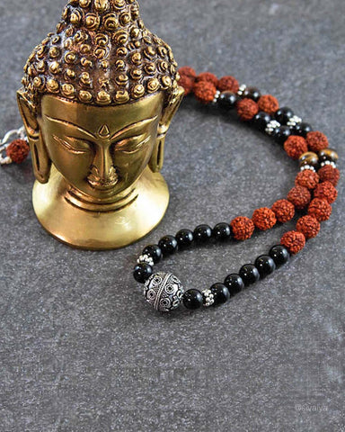 Rudra Rudraksha and Black Onyx Sterling Silver Necklace