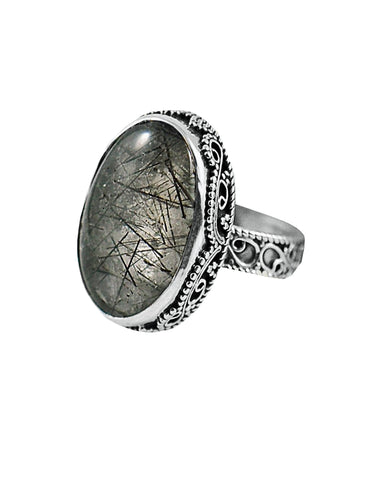 Rutile Quartz Statement Ring Sterling Silver