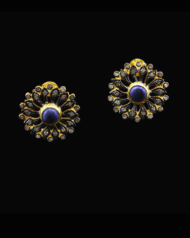 Sapphire and Diamond Post Earrings in Gold Vermeil
