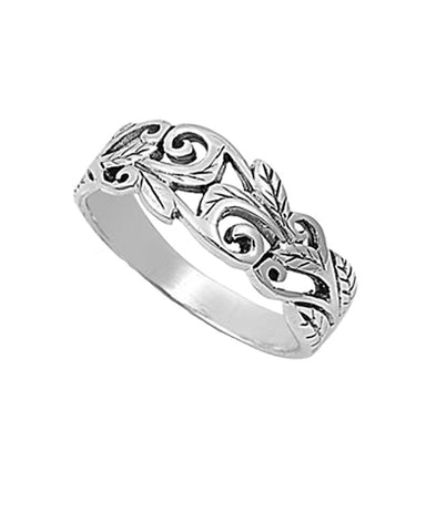 Scroll Engraved Ring Sterling Silver