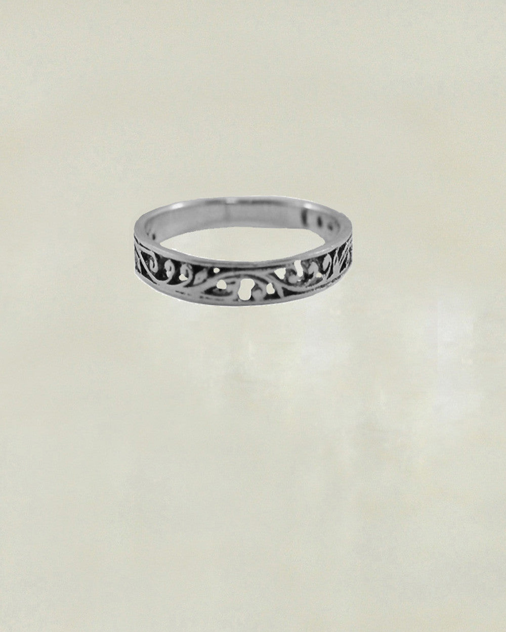 Scrolled Leaves Sterling Silver Ring