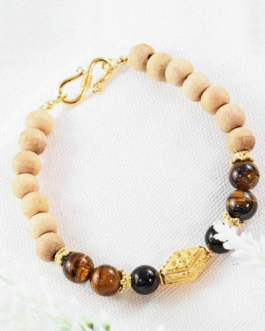 Shakti Wrist Mala With Tulsi Black Onyx and Tigers Eye Gold