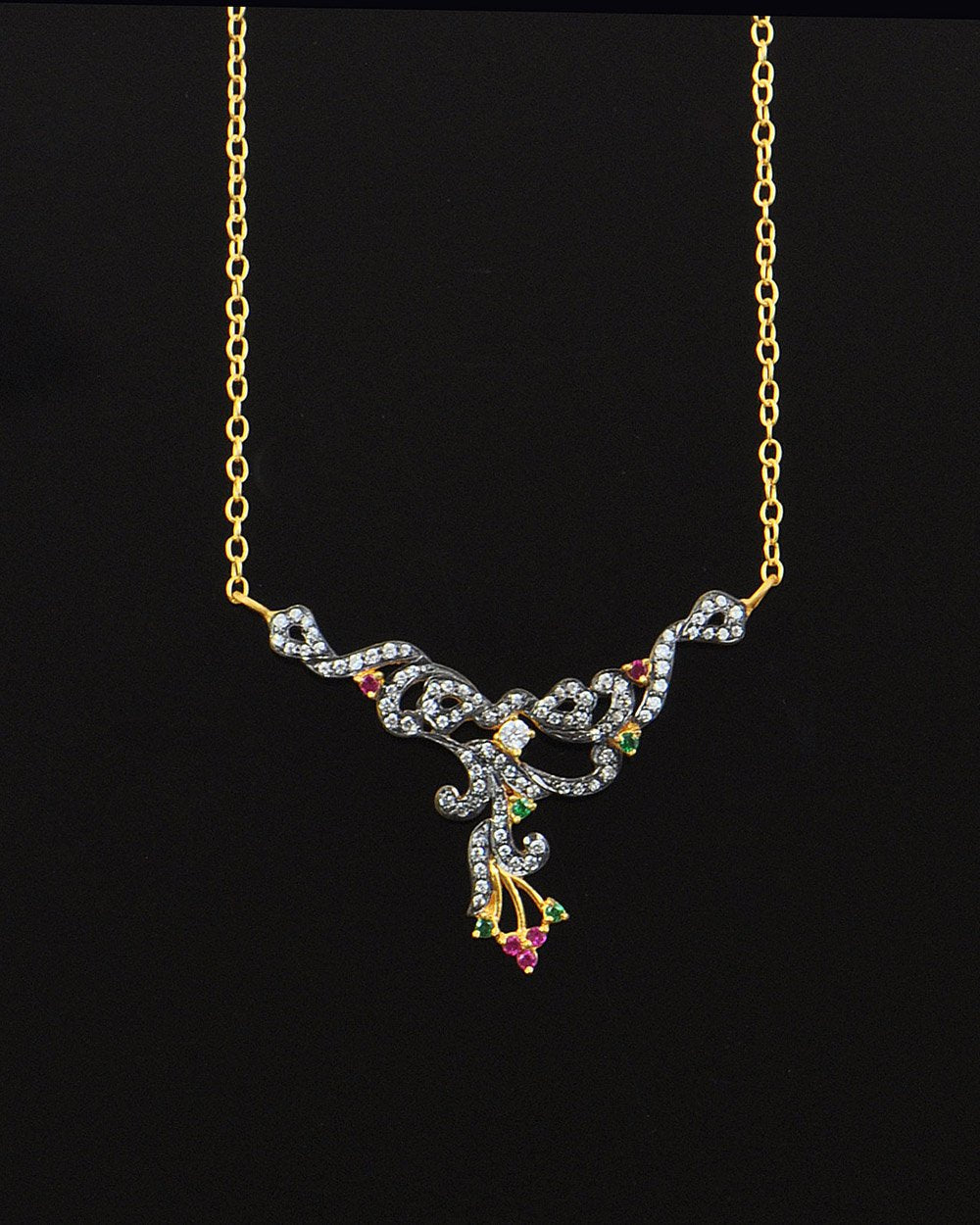 Colorful Peacock Crystal Necklace in Gold Vermeil