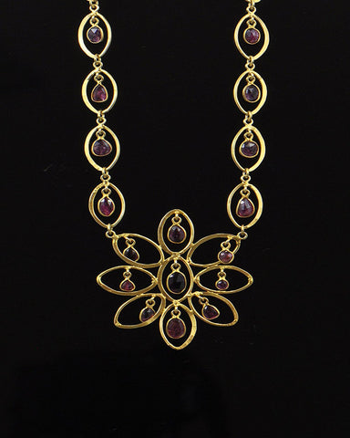 Pink Tourmaline Drops Flower Statement Necklace Gold Vermeil