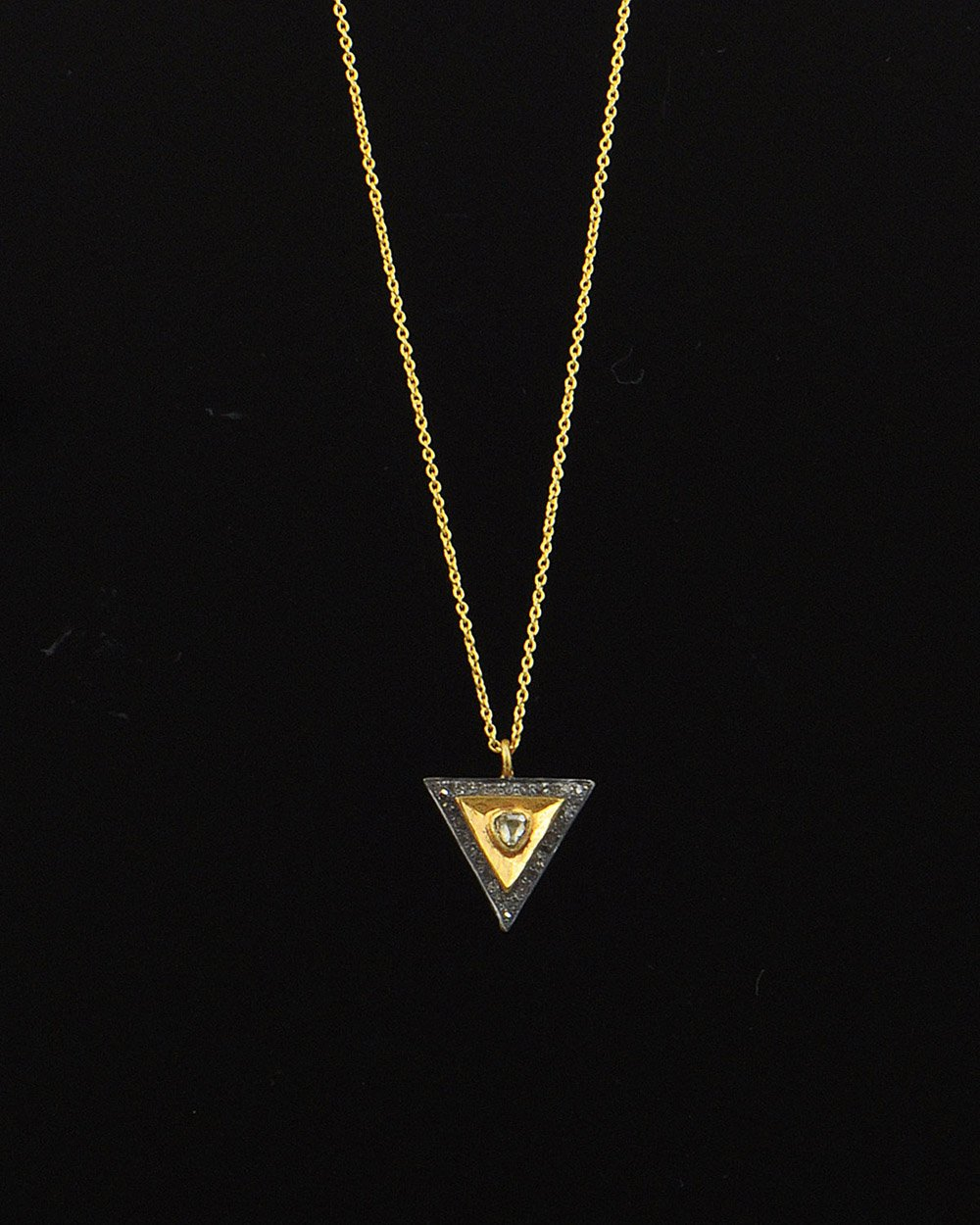 Trilogy Rose Cut Diamond Necklace in Gold Vermeil