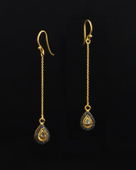 Teardrop Dangle Drop Diamond Earrings in Gold Vermeil