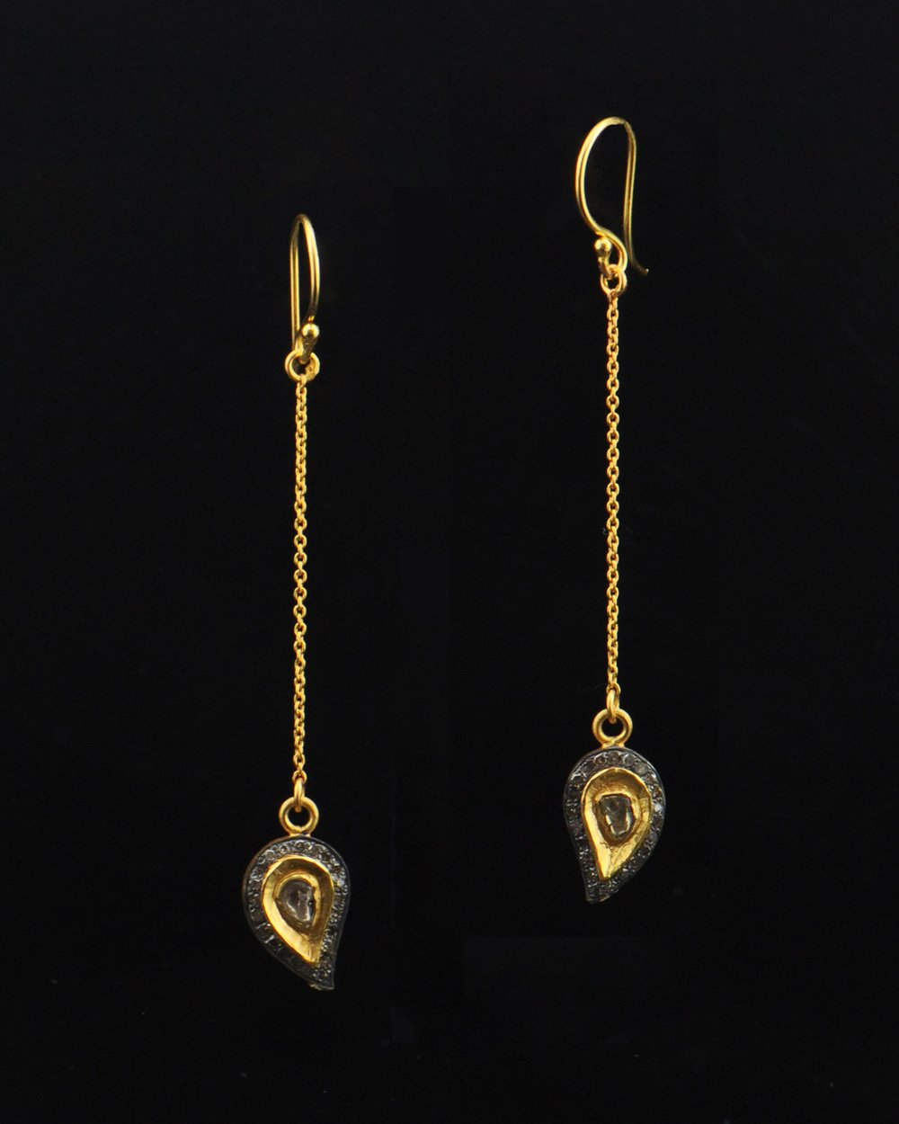 Paisley Diamond Drop Earrings in Gold Vermeil