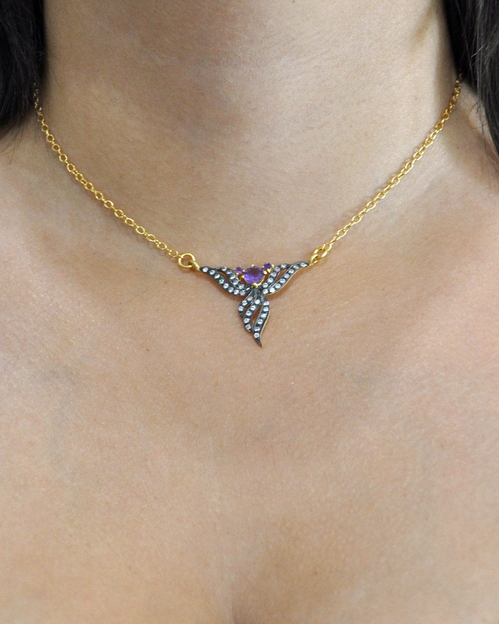 Amethyst and Crystal Bouquet Necklace in Gold Vermeil