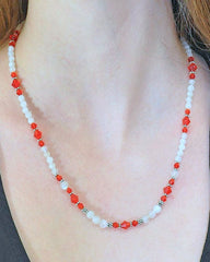 Divine Energy Red Crystals and Moonstone Necklace
