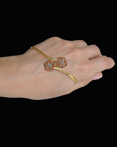 Diamond and Orange Sapphire Palm Cuff Hand Bracelet