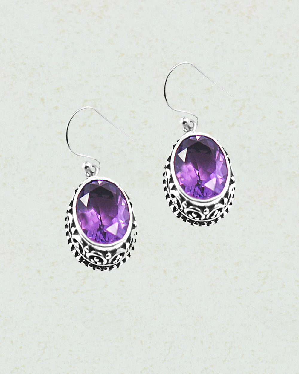 Cushion Cut Amethyst Filigree Earrings in Sterling Silver - Sivalya