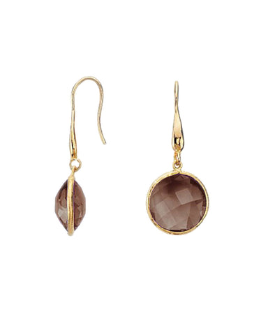 Smoky Quartz Round Gem Drop Earrings