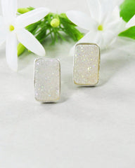 Snow White Druzy Bar Stud Earrings in 925 Sterling Silver