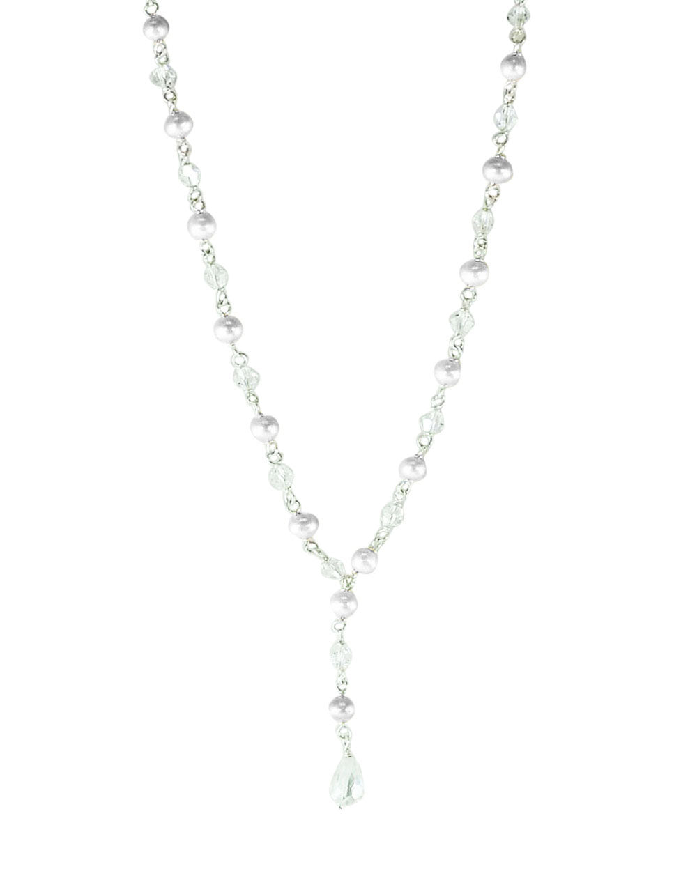 Sparkling Natural White Pearls and Crystals Necklace