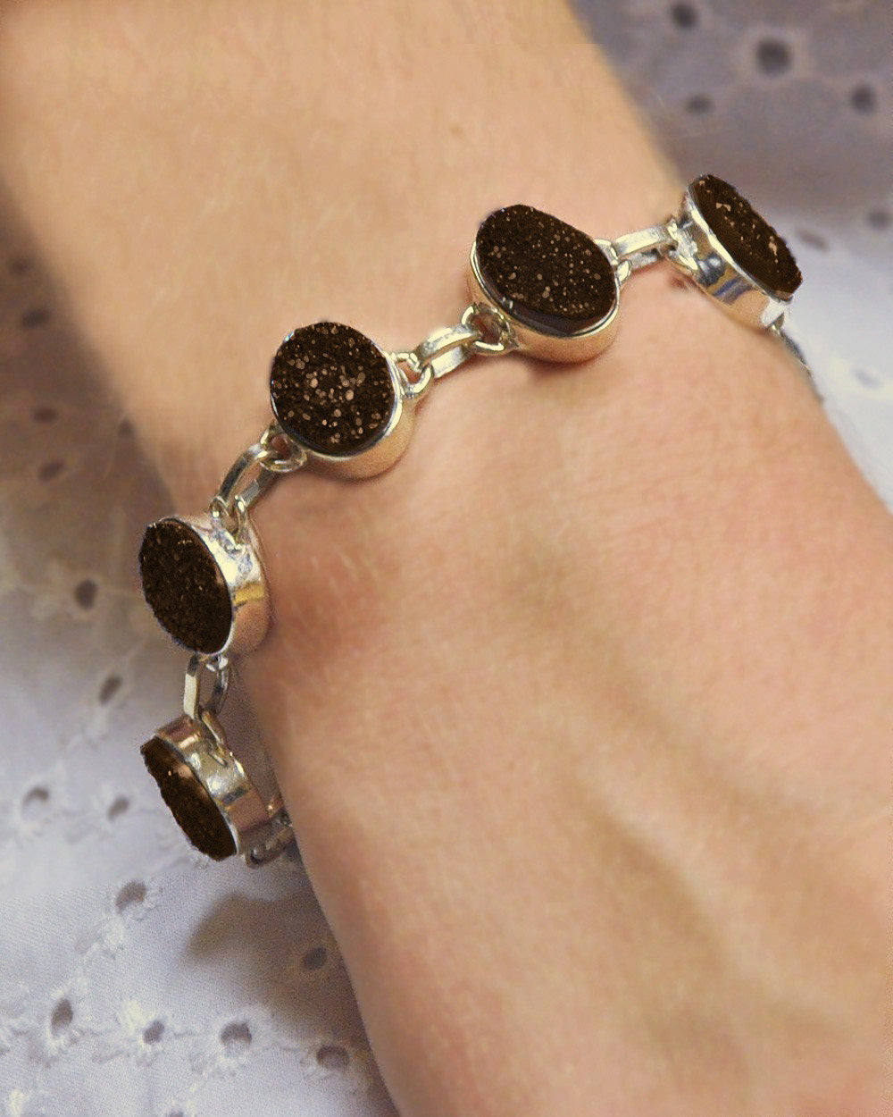 Night Tides Black Druzy Stones Bracelet in 925 Sterling Silver