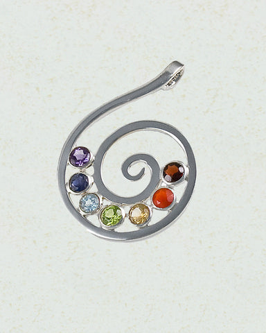 Spiral Chakra Pendant in Sterling Silver - Sivalya