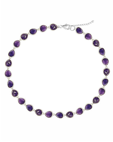 Splendor Amethyst Sterling Silver Station Necklace