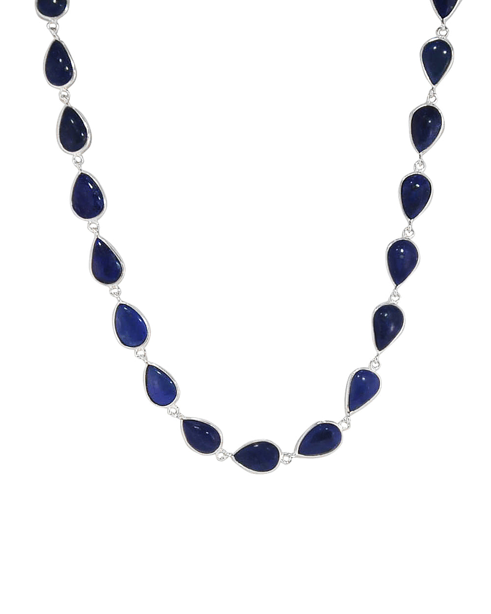 Splendor Lapis Lazuli Sterling Silver Station Necklace