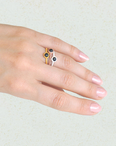 Black Onyx Rings Stack - Set of Three in Mix Metal - Sivalya