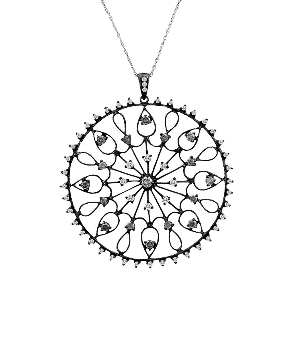 Mandala Chakra Pendant Necklace in Oxidized Sterling Silver