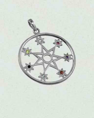 Seven Stars Chakra Pendant in Sterling Silver - Sivalya