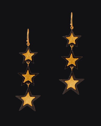 Stardust Gold and Black Two-tone Stars Dangle Earrings