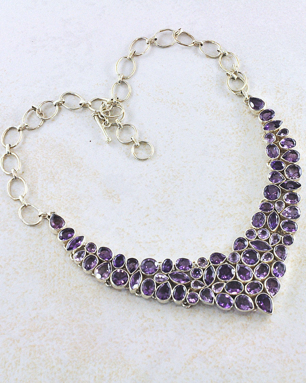 Amethyst Statement Necklace in Sterling Silver