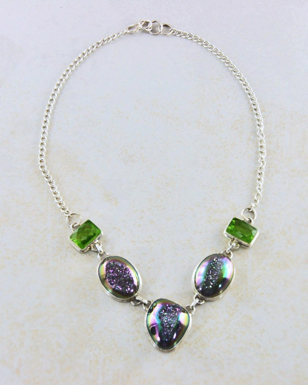 Aura Druzy Necklace in Sterling Silver